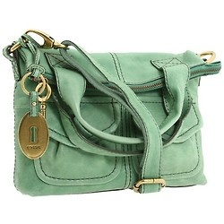 Seafoam green Fossil brand fold-over leather purse.  I have this in natural brown and I love it!