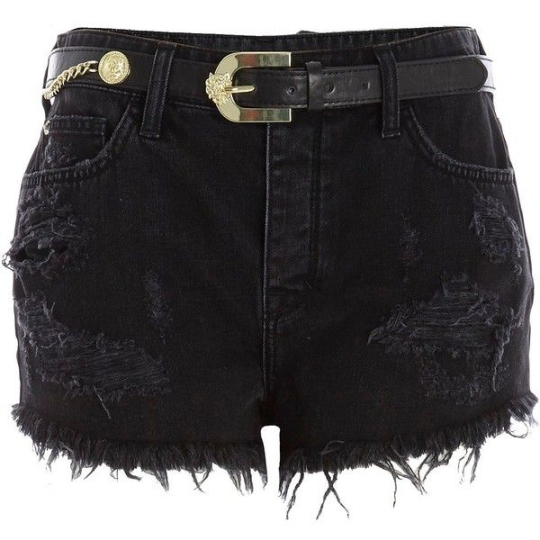 River Island Black belted high waisted ripped denim shorts (15.880 CLP) ❤ liked on Polyvore featuring shorts, bottoms, pants, short, sale, high-waisted jean shorts, destroyed denim shorts, black denim shorts, short shorts and black shorts