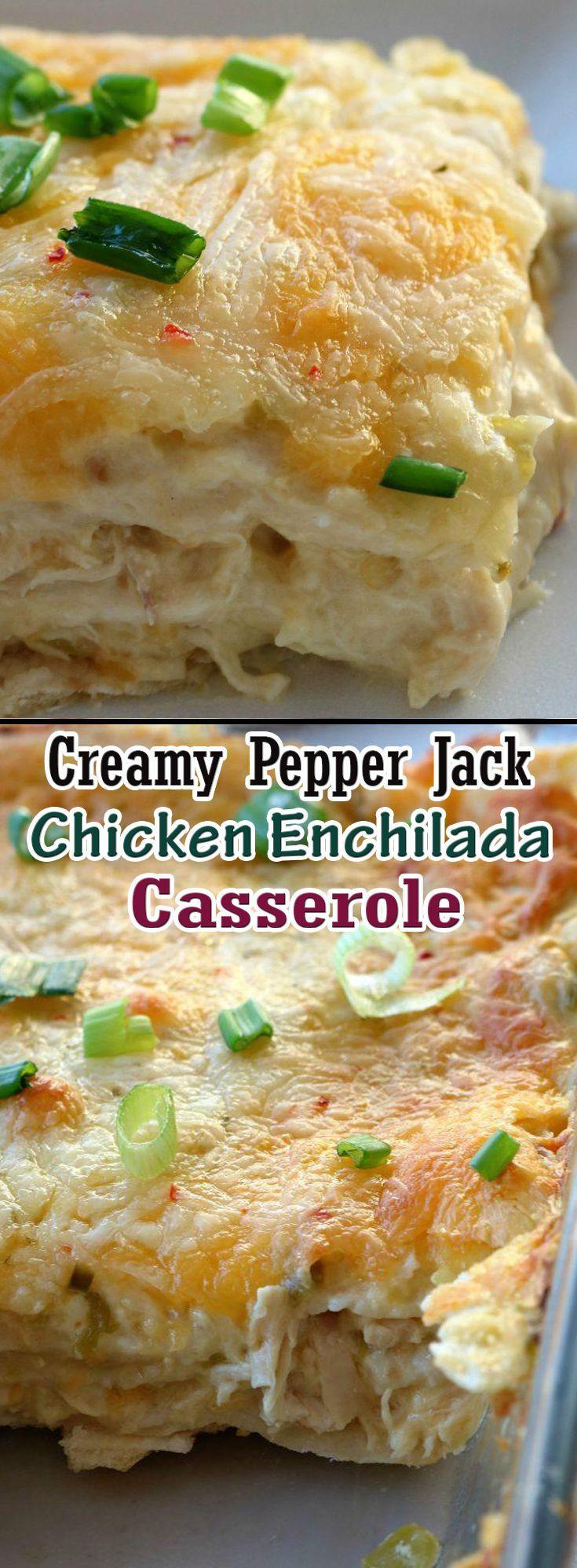 Creamy Pepper Jack Chicken Enchilada Casserole