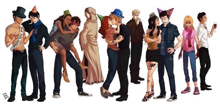 Magnus, Alec, Maia, Jordan, Brother Zachariah/Jem, Clary, Jace, Sebastian, Izzy, Simon, Maureen, and Raphael