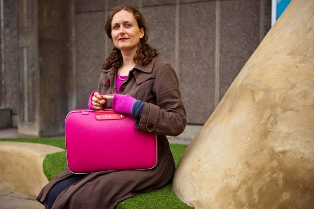 Camberwell bag in fuschia pink and raspberry cashmere wristwarmers