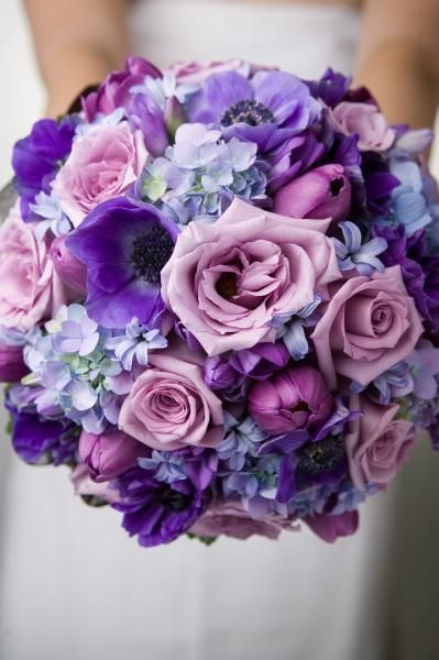 wedding bouquet purple roses sweet peas tulip and anemone wedding flower 8481