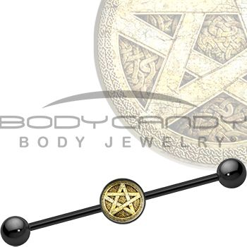 Ancient Pentagram Industrial Barbell #piercing #bodycandy #pagan #fall