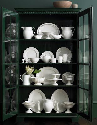 China Cabinet Display, I've got pieces from different grandmothers and dishes from Spain that I'd love to display. I love white dishes