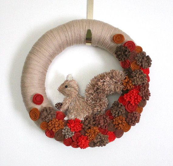 Squirrel Wreath Autumn Wreath Fall Wreath by TheBakersDaughter