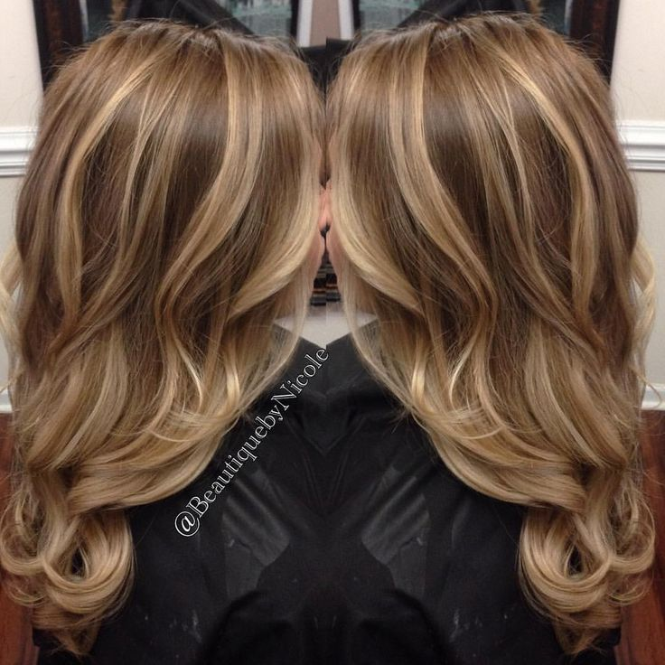 Balayage on long hair/ blonde highlights with curled hairstyle