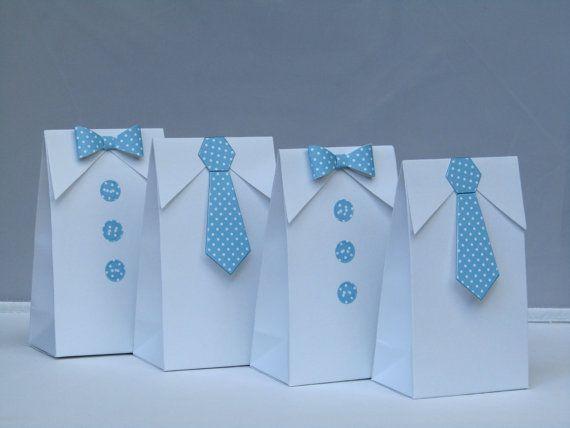 Little Man Blue Polka Dots Bow Tie - Tie Favor Bag-Baby Shower Candy Bag-Baby Shower Party Favor Bag-Boy First Birthday Party Bag- Set of 12