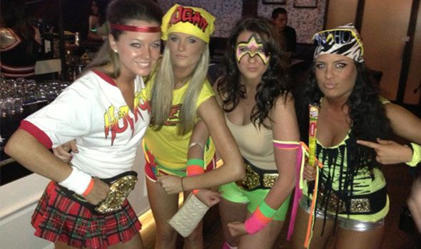 Rowdy Roddy Piper, Hulk Hogan, The Ultimate Warrior, and Macho Man Randy Savage group halloween costume