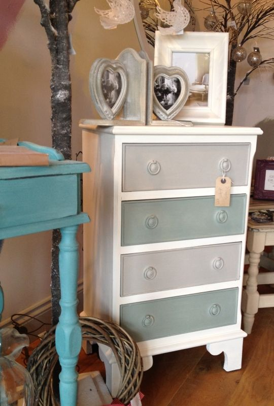 Drawers painted in Old White, Duck Egg Blue and Paris Grey