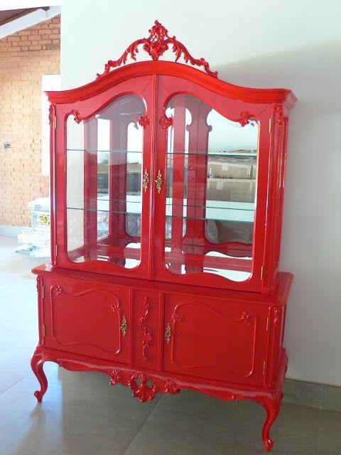 Ateliando - Customização de móveis antigos: Cristaleira Luíz XV Vermelha
