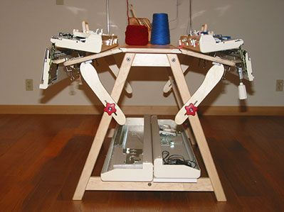 """knittingmachinetables.com's """"MAX Double-Tilt Table"""", showing lid support at base of table"""