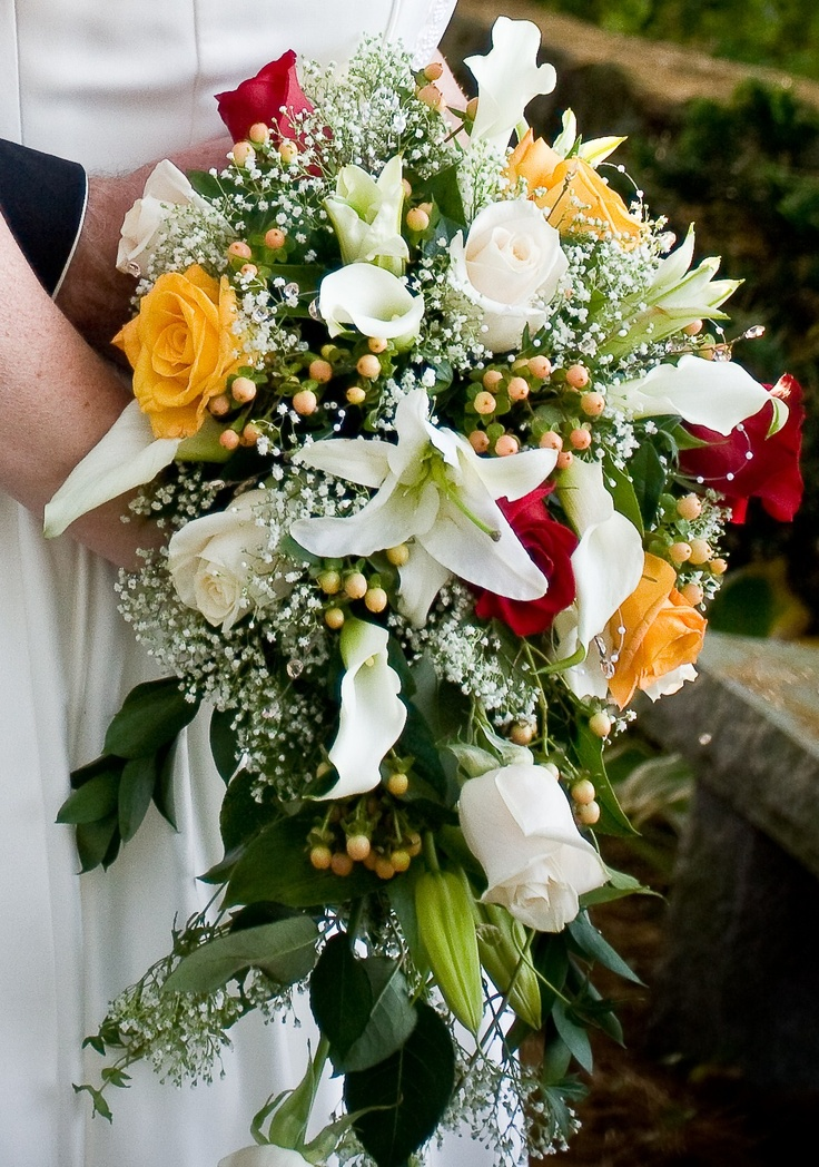 Fall Cascading Bridal Bouquet Roses Calla Lilies