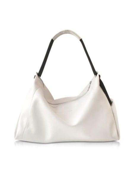 MM6 MAISON MARTIN MARGIELA WHITE AND BLACK LEATHER SHOULDER BAG