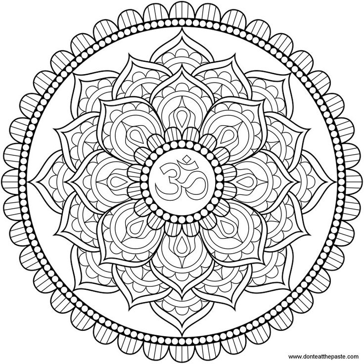 Lotus Om mandala to color or embroider- also available in transparent PNG on Don't Eat The Paste.