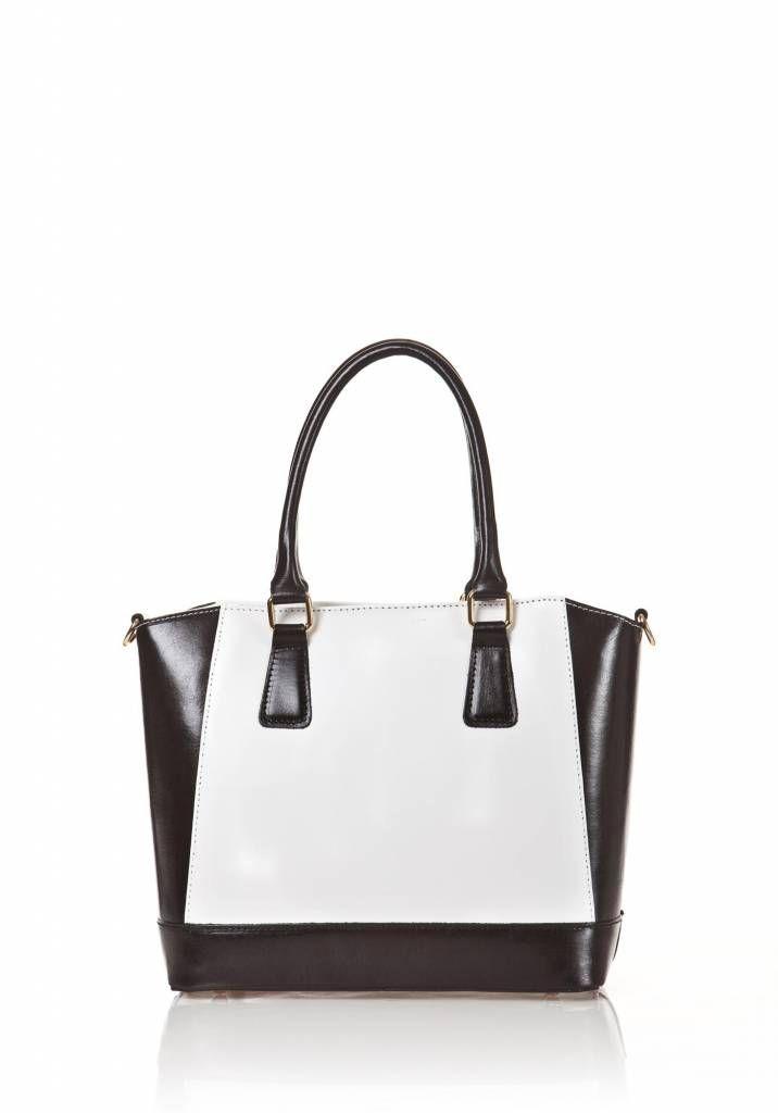 Handtas van kalfsleer met verstelbare schouderband zwart wit kleuren