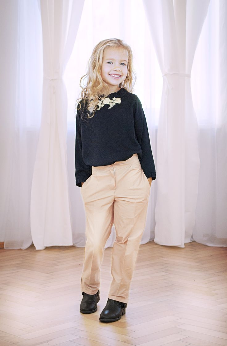 Chic look from Designers for kids, fall collection with skinny trousers and blouses in fine veils and embroidery, children fashion designed by Rhea Costa