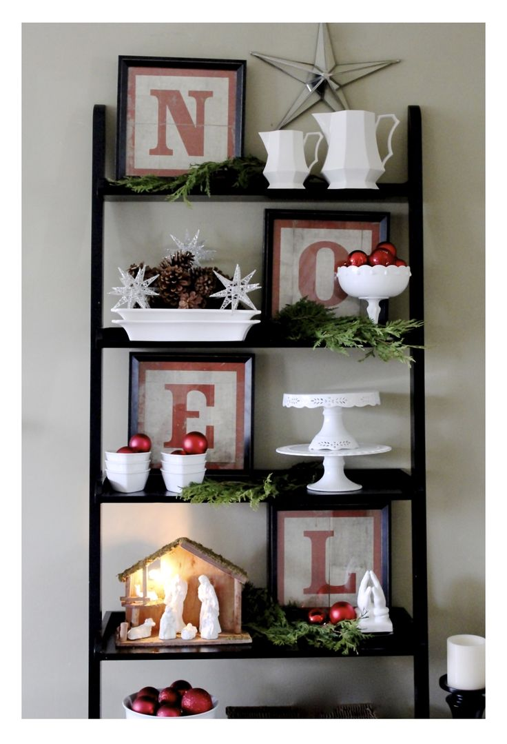 Love This Arrangement  Illuminated Glittered Nativity Set Makeover~diy ·  Bookcase Decoratingbookshelf Designbookshelf Stylingladder