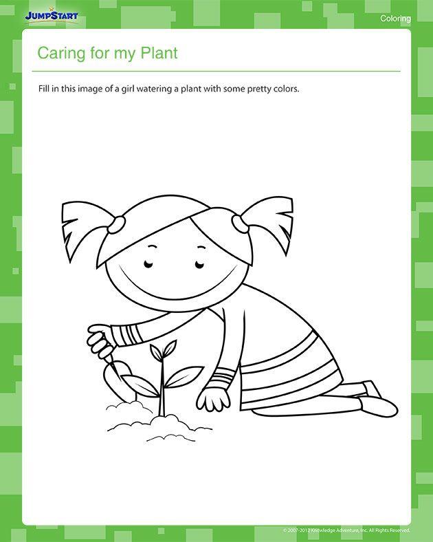 caring for my plant kindergarten coloring worksheet. Black Bedroom Furniture Sets. Home Design Ideas