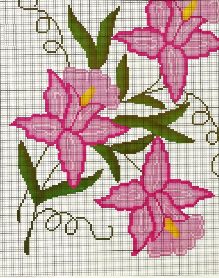 COSTURAS STEPHANY : Patrones de Flores De Punto de Cruz Gratis /Free Cross Stitch Flowers Patterns                                                                                                                                                                                 Mais