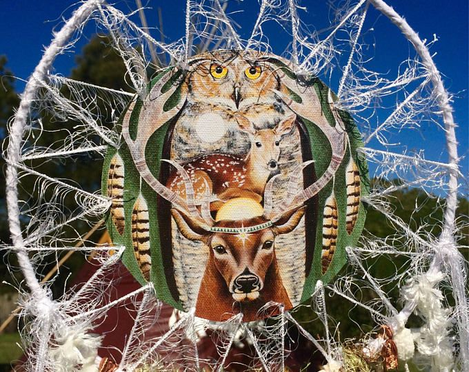 Deer, owls , Heart of a Shaman SpiritArt Mandala, Dreamcatcher, Animal Totem, Spirit Guide, Unique Visionary Art, Dreamtime, Dream Catchers,