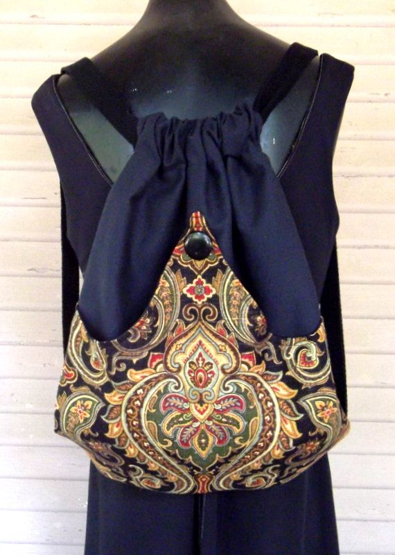 Old World Backpack Hippie Backpack  Retro Book Bag  Hippie Sling Bag Back to School