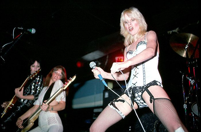Joan Jett, Jackie Fox and Cherie Currie from The Runaways perform live at CBGB's club in New York on August 02 1976