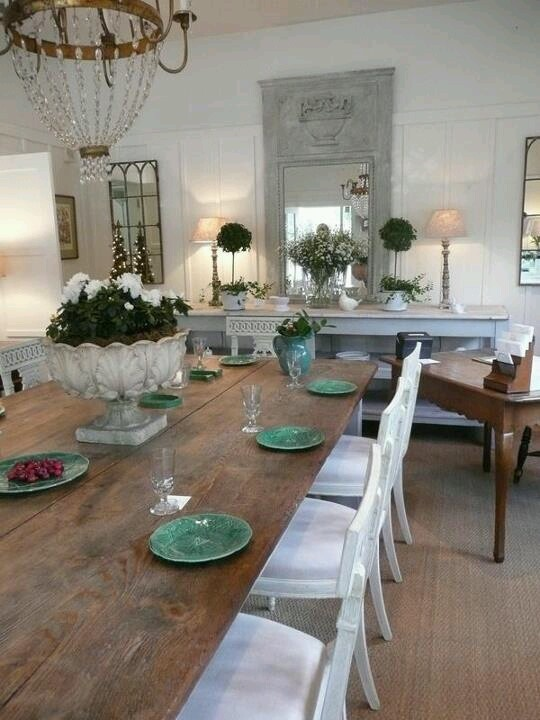 Love The Farmhouse Table W White Chairs Dream Dining Room