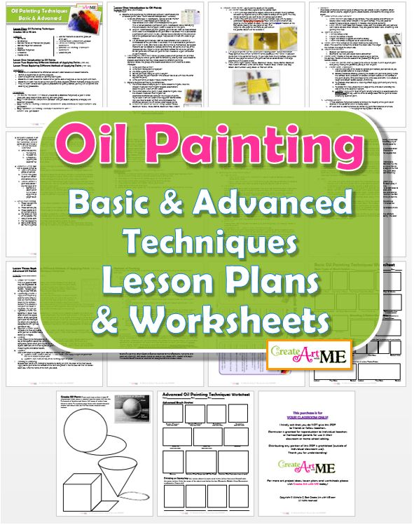 Oil Painting Techniques Lesson Plans and Worksheets, MS Art Painting lesson, HS painting lesson, L1: Intro to Oil Paints L2: Basic Oil Painting Techniques Worksheet  L3: Advanced Oil Painting Techniques Worksheet: Advanced Brush Strokes