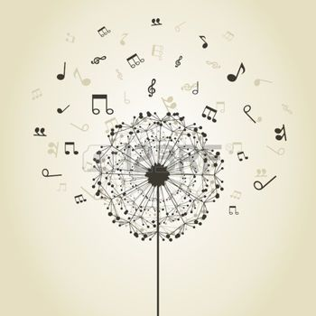musica: Note musicali intorno a un fiore di un dente di leone Vettoriali