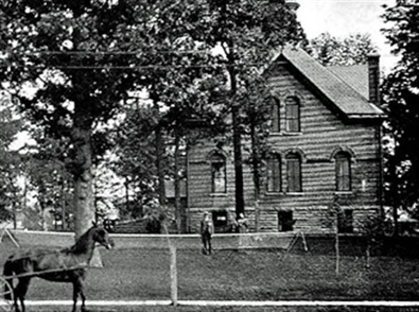 DATE TAKEN  1890s  TITLE  Seiberling Carriage House viewed from Sycamore St.  DESCRIPTION  The carriage house has changed dramatically over the years, as it went from horse-drawn carriages to motorized vehicles. through a series of private owners, then to IU-Kokomo and on to Howard County and the Historical Society. Kokomo, Indiana