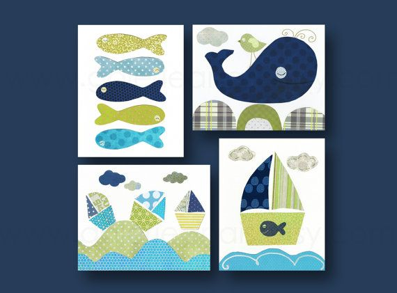 Blue and green Kids wall art, kids room decor, baby nursery art, boat, bathroom, fish, nautical, ocean, whale, set of four 8x10 in. prints