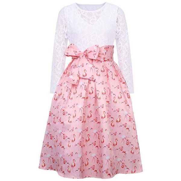 Papaya 4xl Plus Size Flamingo Print Lace Panel A Line Dress (60 PEN) ❤ liked on Polyvore featuring dresses, a line shape dress, pink plus size dresses, a line silhouette dress, women plus size dresses and lace insert dress