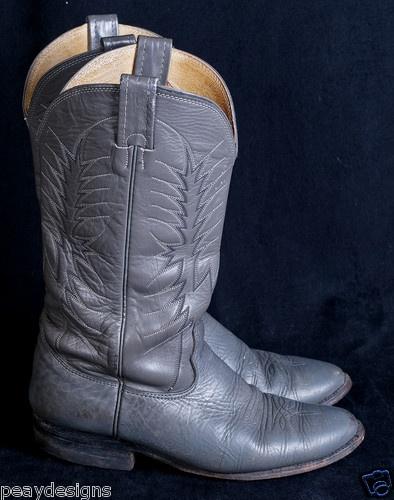 Vtg Nocona Elephant Skin Gray Leather Mens Cowboy Western
