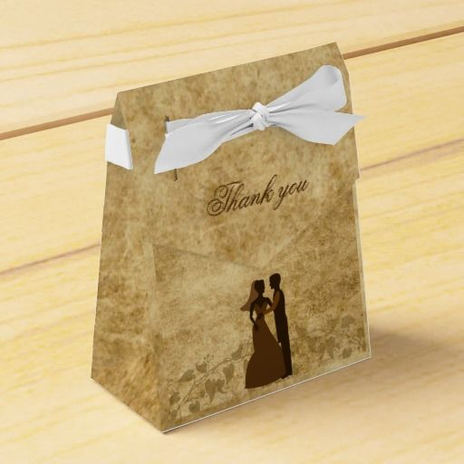 Brown Vintage paper Parchment and vines with Bride  Groom Wedding Once upon a time Thank you Favor Box by #PLdesign #VintageWedding
