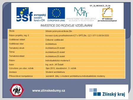 Www.zlinskedumy.cz Škola Střední průmyslová škola Zlín Název projektu, reg. č. Inovace výuky prostřednictvím ICT v SPŠ Zlín, CZ.1.07/1.5.00/34.0333 Vzdělávací.