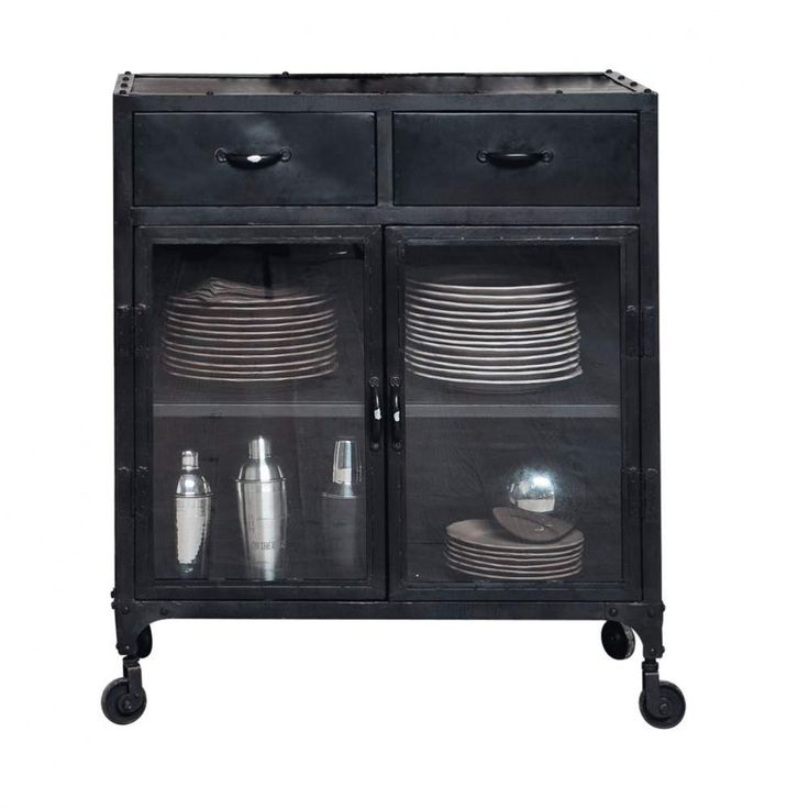Credenza nera con vetrine stile industriale a rotelle in metallo L 80 cm Edison