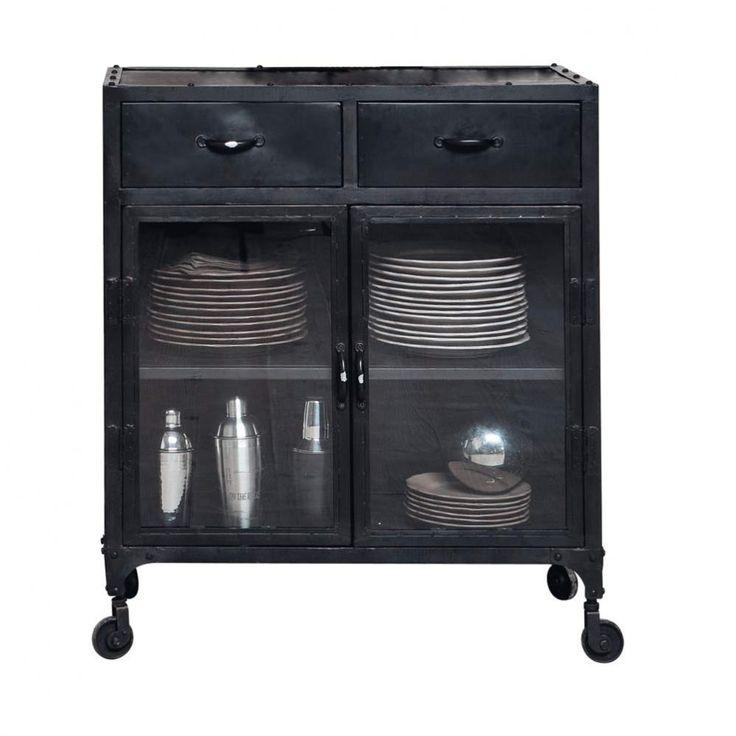 Aparador industrial con vitrina y ruedas de metal negro An. 80 cm Edison