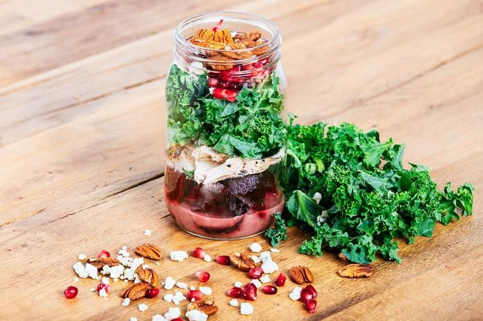 Chicken, Kale and Beet Mason Jar Salad