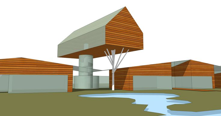 CURDONER FORESKETCH Moscow area, Istra district, 2014 Created by Mikhail Belyakov, Nikita Gorlenko and Sergey Pokrovsky. Simple shapes, that should remind one of a classic pitched roof development lined up along the river bank.