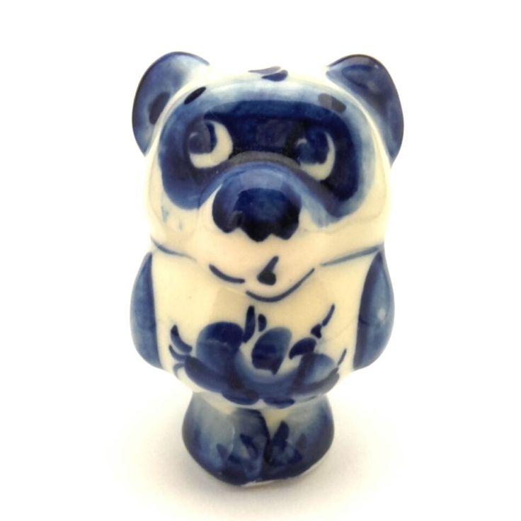 Gzhel Figurine Porcelain Russia Winnie Pooh Винни Пух Hand Painted Signed #119