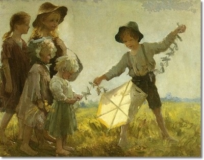 Adam Emory Albright - Children Playing with a Kite