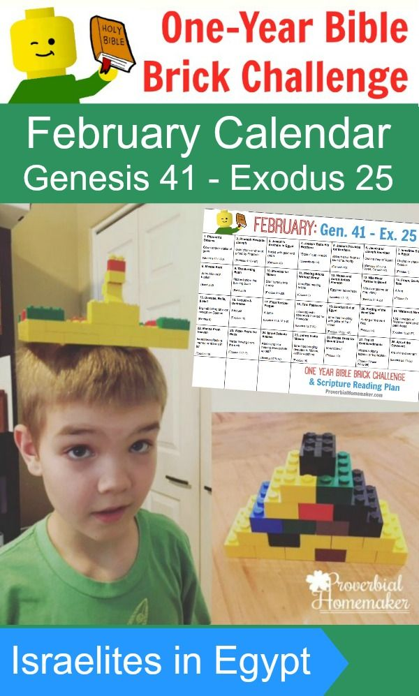 The February calendar for the One-Year Bible Brick Challenge takes us into Genesis and Exodus with the Israelites in Egypt! It includes a simple reading plan and a daily Lego build project throughout the month.