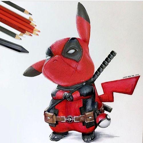 Deadpool Pikachu  Artist - @chris_brazil  Shared by @kitslam  - YouTube | Instagram | Facebook