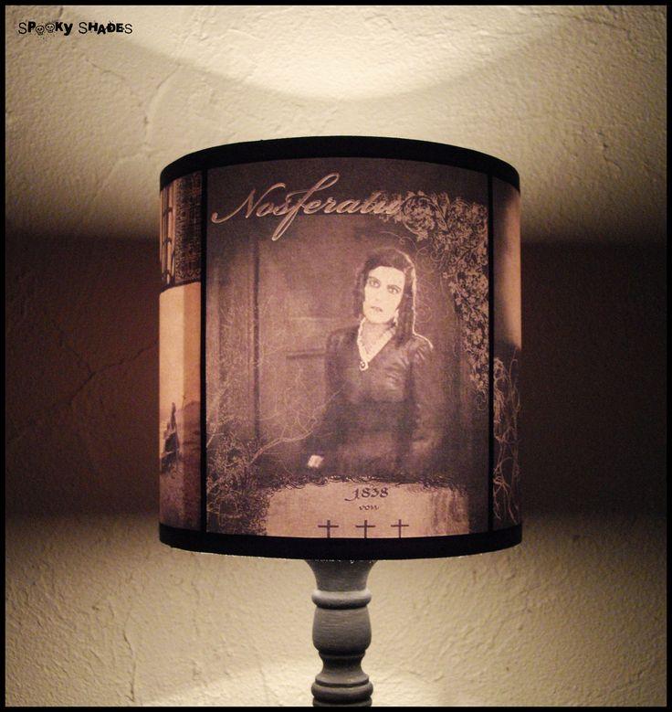 Nosferatu Lampshade lamp shade - halloween decor, goth decor, dark decor, horror movie, vampire decor. €45.00, via Etsy.