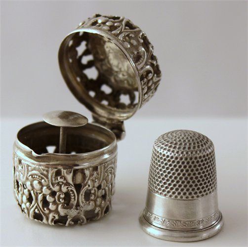 Vintage Sterling Thimble holders and Thimbles