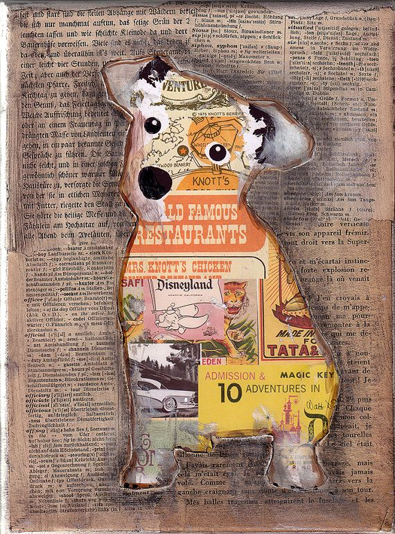 Jack Russell Collage; nice idea to collage whatever image you want with color and a neutral background
