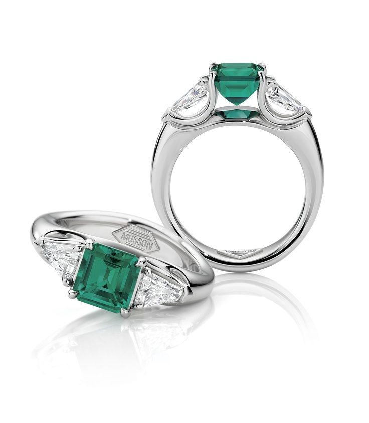 Envy Vivid Colombian emerald and floating diamonds, $15,500, Musson, Shop 51, Ground Floor, QVB