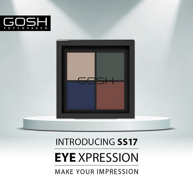 Introducing EYE XPRESSION palette with 3 different shades and 1 highlighter. #GOSHCOPENHAGEN #BEAUTIFULYOU #URBANNATURE #MAKEYOURIMPRESSION #SS17