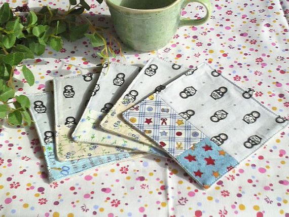 """Set of 5 Coasters Patchwork Sewing Hand / blue and black - 4.3"""" * 4.3""""(11*11cm) by YuminaCafe, ¥1500"""