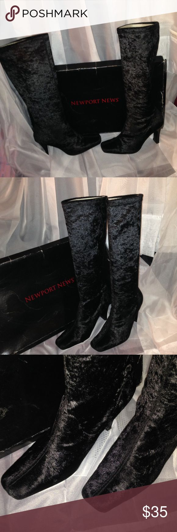 """Newport News Black suede boots size 7m Worn once Newport News Black Suede boots knee highness, size 7m measurements Height from heel to top 18"""" heel 4"""" calf circumference 14"""" Newport News Shoes Heeled Boots"""